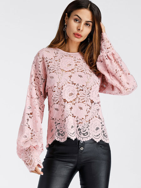 Pink Lantern Sleeve Hollow Lace Top