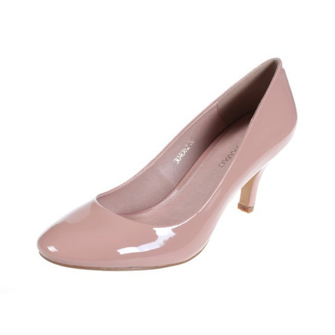 Pumps - Women's Trendy Pink Leather Round Toe Pumps