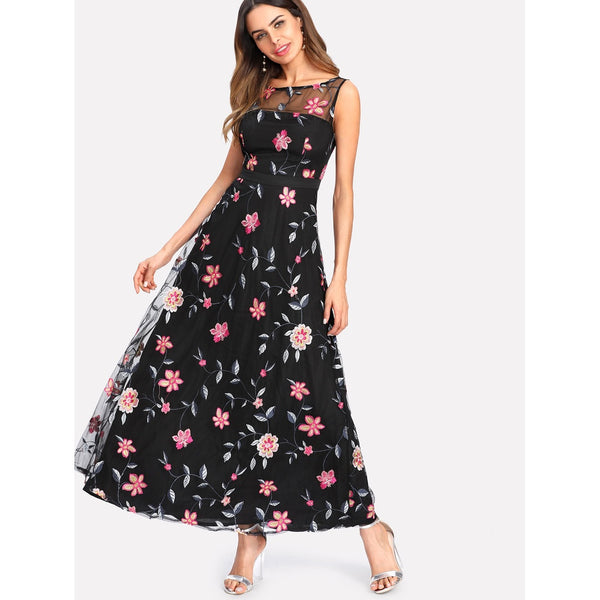Cocktail & Party Dresses - Women's Trendy Black Round Neck Sleeveless Floral Print Maxi Dress