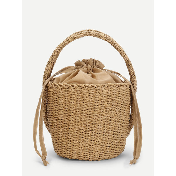 - Women's Trendy Beige Straw Small Tote Bag