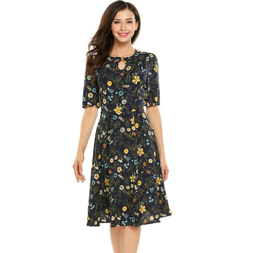 Floral Half Sleeve Keyhole Front Casual Dress