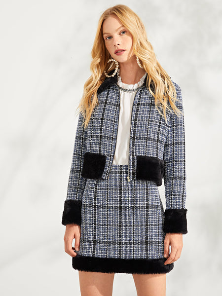 Zip Front Elegant Plaid  And Skirt Set