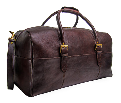 Brown Leather Cabin Travel Duffle Weekend Shoulder Bag