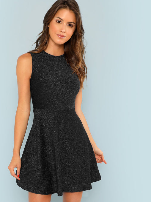 Black Fit and Flare Sleeveless Glitter Short Dress