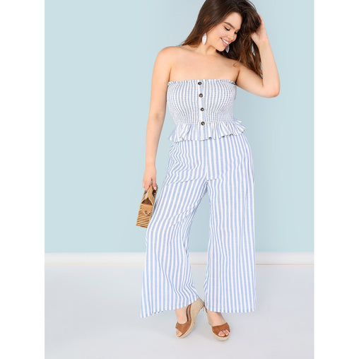 Plus Size Blue Button Striped Top and Pant Set
