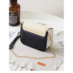 Beige Color Block Crossbody Bag