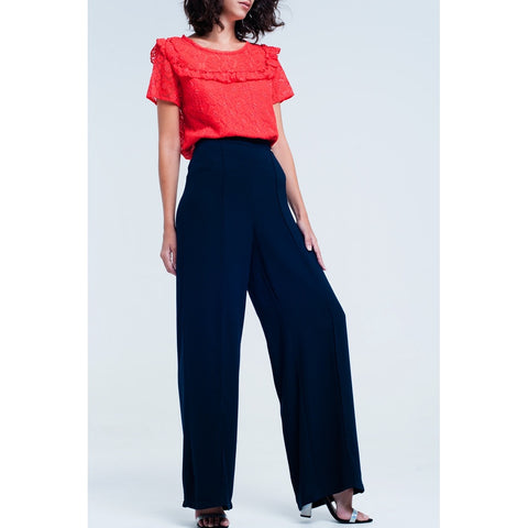 Cropped Pants - Women's Trendy Navy Wide Pants
