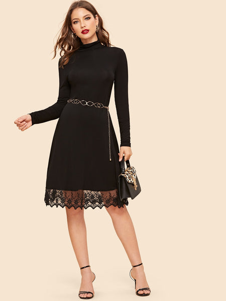 Black Mock Neck Mesh Hem Midi Dress