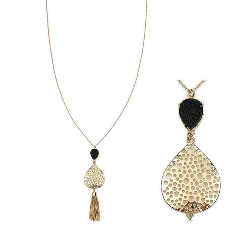 Earrings - Women's Trendy Black Gold Plated Chain Tassel Necklace