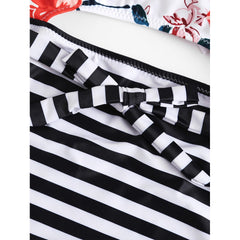 Flower Print Striped Swimsuit - Fashiontage