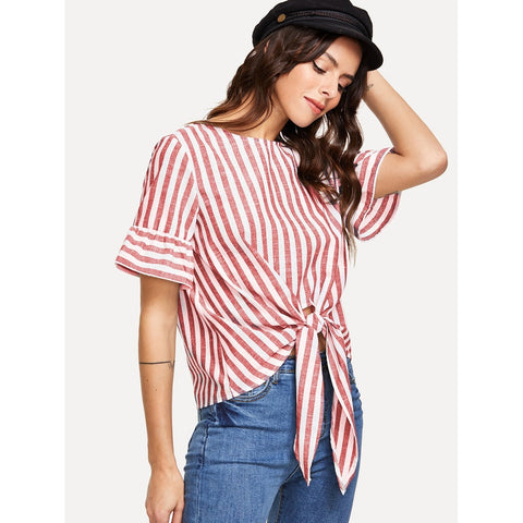 Tops - Women's Trendy Multicolor Knot Front Keyhole Back Flounce Sleeve Striped Top