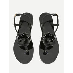 Black Floral Print Toe Post Slingback Sandals