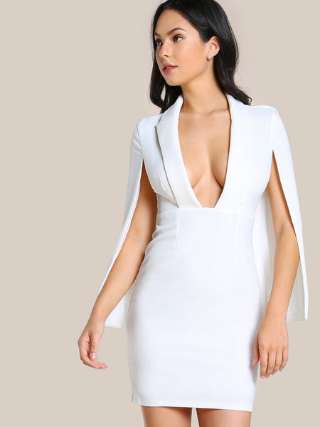 White Shawl Collar Plunging Cape Dress
