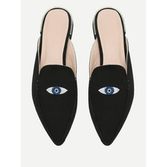 Embroidery Eye Pointed Toe Flats - Fashiontage