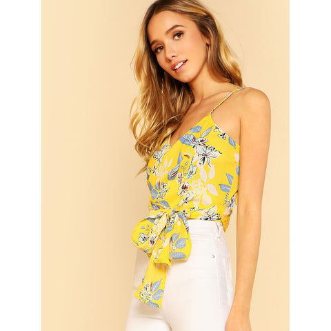 Yellow V-Neck Floral Print Wrap Top