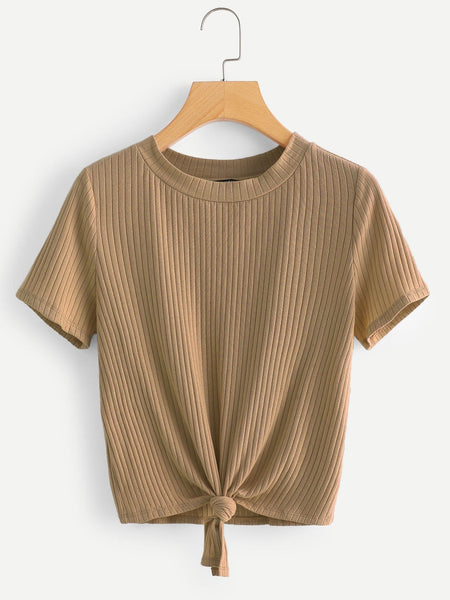 Khaki Knot Front Solid Ribbed T-Shirt