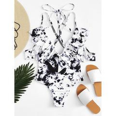 Black And White Ruffle Swimsuit - Fashiontage