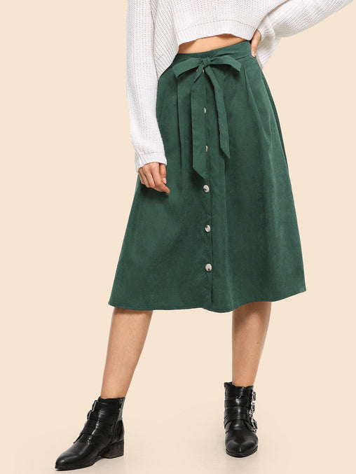 Green Buttoned Flared Midi Skirt