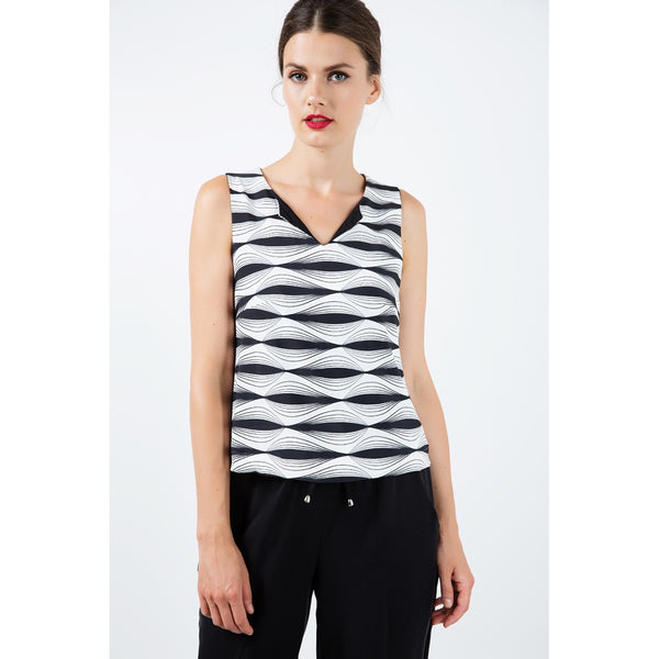 Black And White V-Neck Sleeveless Jersey Top