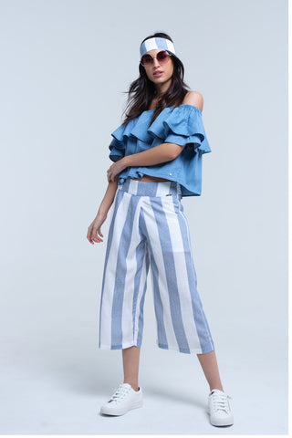 Wide Leg Pants - Women's Trendy Blue Striped Wide Leg Pant