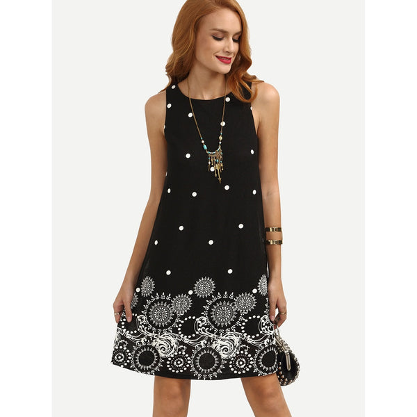 - Women's Trendy Black Round Neck Sleeveless Polka Dot Tribal Print Swing Shift Dress