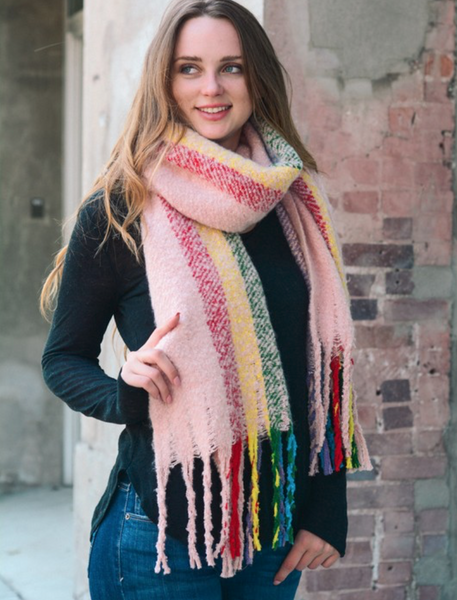 Super Soft Pink Rainbow Large Tassel Scarf