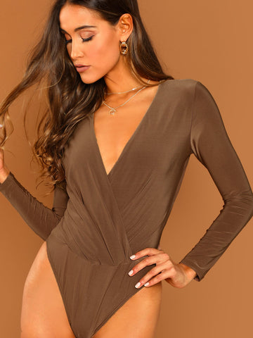 Camisoles & Corsets - Women's Trendy Camel Surplice Neckline Long Sleeve Bodysuit