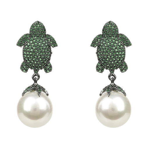 Green Pearls Animal Print Drop Earring