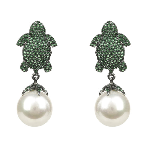 Earrings - Women's Trendy Green Pearls Animal Print Drop Earring
