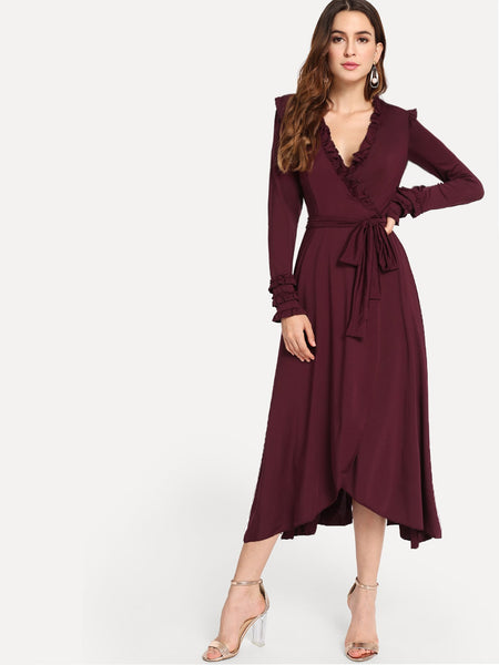 Burgundy Surplice Front Frill Long Dress