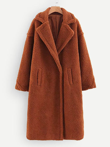 Brown Pocket Front Teddy Coat
