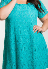 Plus size Blue Lace Swing Dress