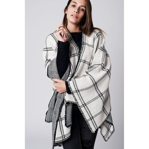 Plus Size Beige Striped Oversized Jacket