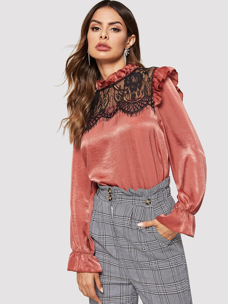 Pink Contrast Lace Lettuce Frill Blouse