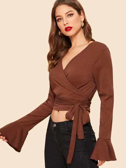 Brown Flounce Sleeve Surplice Neck Crop T-Shirt
