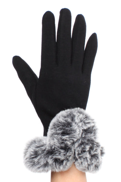Black Touch Screen Faux Fur Cuff  Gloves