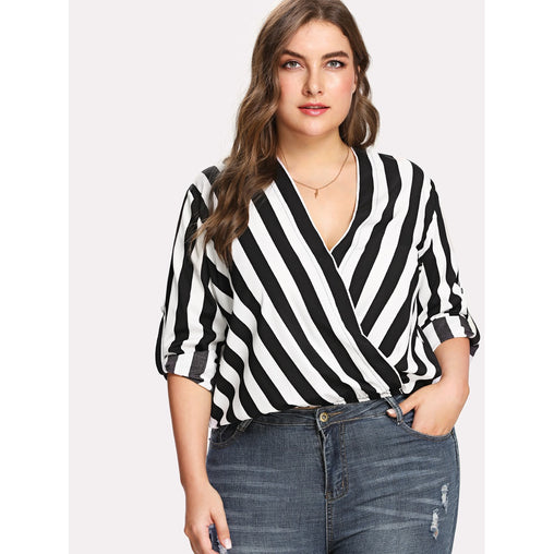 Plus Size Black And White Rolled Tap Sleeve Surplice Wrap Striped Top
