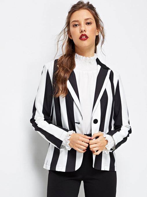 Notch Collar Striped Blazer