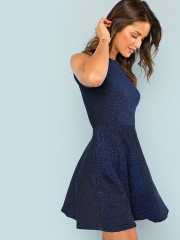 Blue Fit And Flare Sleeveless Glitter Dress