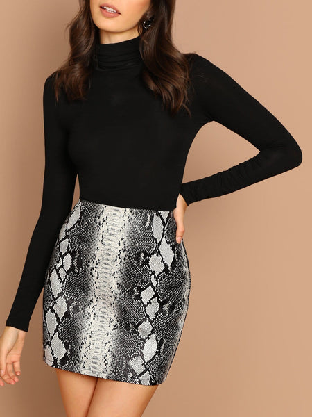 Grey Snake Print Faux Leather Back Zip Mini Skirt