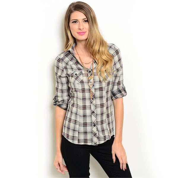 Blouses - Women's Trendy Sleeves Relaxed Fit Plaid Blouse