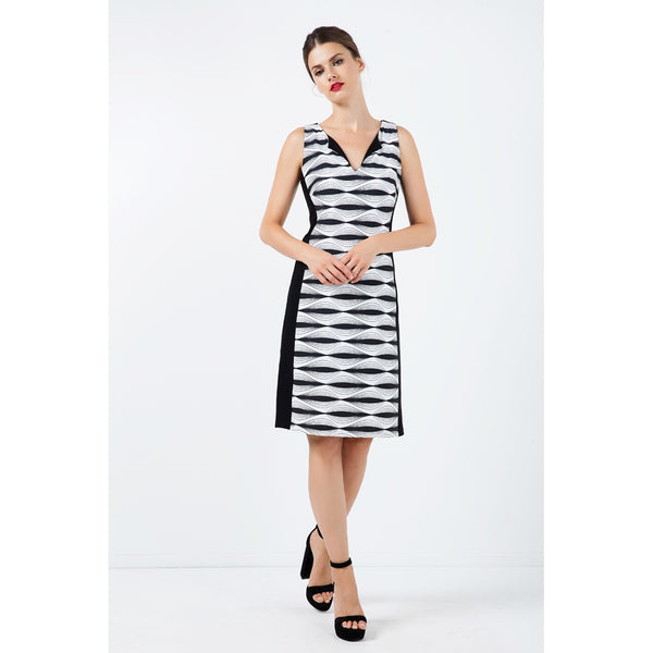 Day Dresses - Women's Trendy Black And White V-Neck Sleeveless A-line Dress