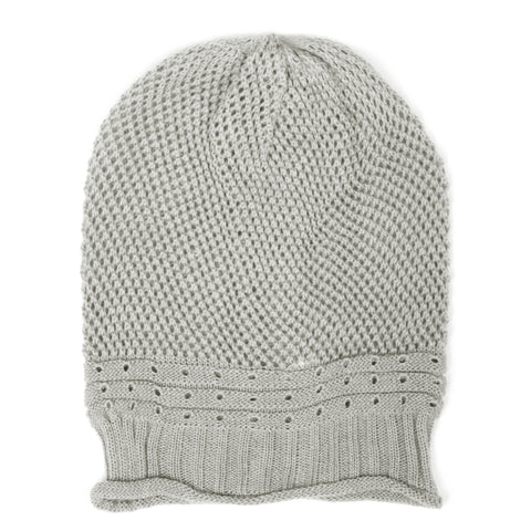 Gray Net Crochet Lightweight Beanie Hat