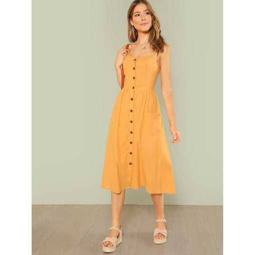 Yellow Straps Sleeveless Flared Shift Dress