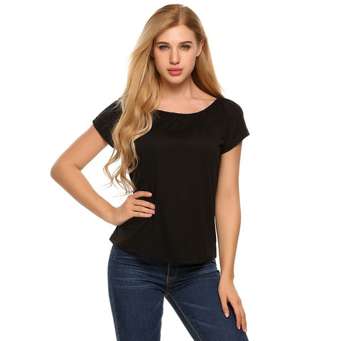 Shirts - Women's Trendy Black Scoop Neck Short Sleeve Pullover Top