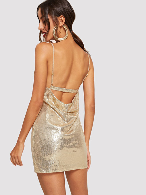 Gold V-Neck Shift Party Dress
