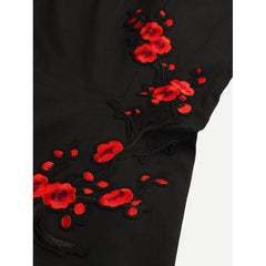 Black Embroidered Applique Circle Dress