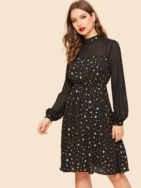 Black Semi Sheer Yoke Allover Star Midi Dress