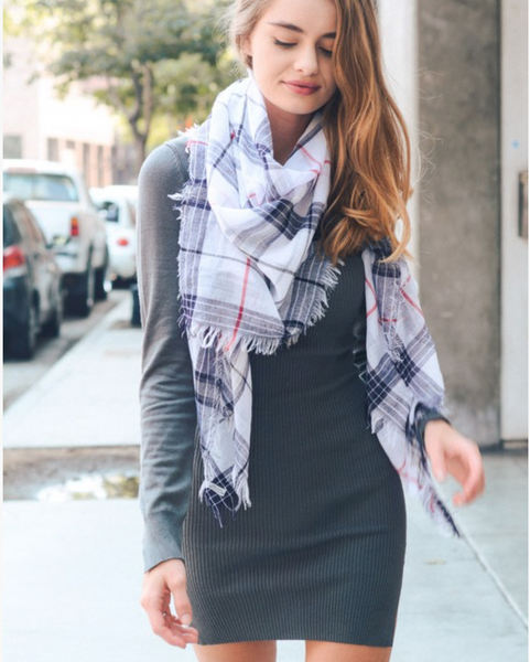 Black & White Plaid Lightweight City Scarf
