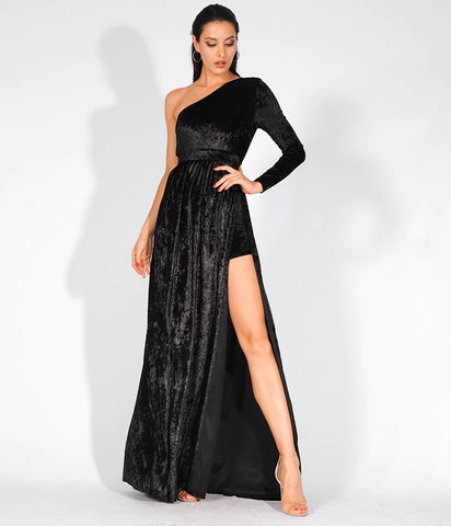 Formal Dresses - Women's Trendy Black One Shoulder Maxi Dress